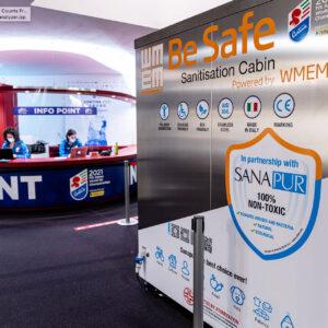 Cabina di igienizzazione Sanapur BeSafe - Mondiali di Sci Alpino Cortina 2021